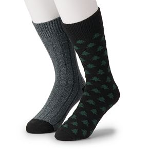 Men's Climatesmart by Cuddl Duds 2-Pack Mini Trees & Ribbed Crew Socks