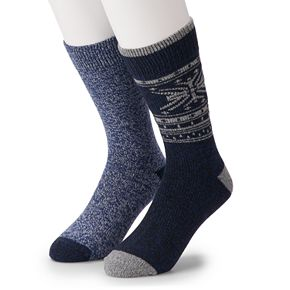 Men's Climatesmart by Cuddl Duds 2-Pack Nordic Fairisle & Twist Crew Socks