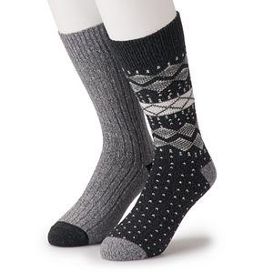 Men's Climatesmart by Cuddl Duds 2-Pack Nordic Fairisle & Twist Ribbed Crew Socks