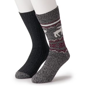 Men's Climatesmart by Cuddl Duds 2-Pack Moose Fairisle & Ribbed Crew Socks