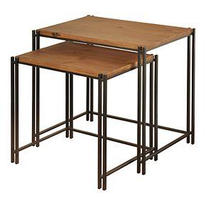 Medium Wood Nesting Tables 2-Piece Set