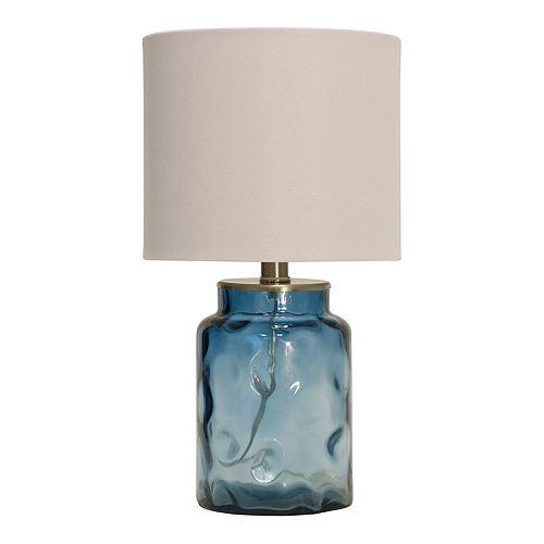 Table Lamp Blue Finish White Hardback Fabric Shade