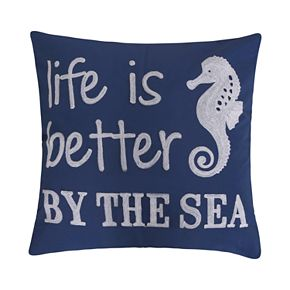 """Atlantis """"Life is Better by The Sea"""" Throw Pillow"""