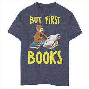 Boys' 8-20 Curious George But First Books Graphic Tee