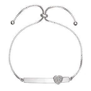 Sterling Silver 1/10 Carat T.W. Diamond Adjustable Bar Bracelet
