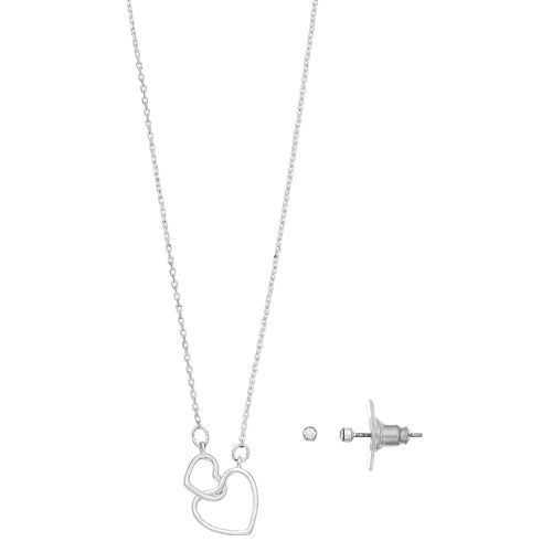 LC Lauren Conrad Double Heart Necklace & Stud Earring Set