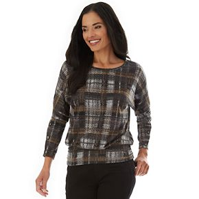 Women's Apt. 9 Fuzzy Printed Button Sleeve Top