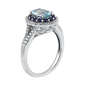 Sterling Silver Aquamarine & Lab-Created Sapphire Halo Ring