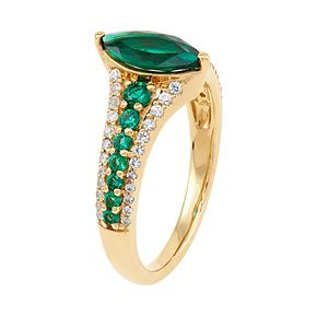 10k Gold Lab-Created Emerald Marquise Ring