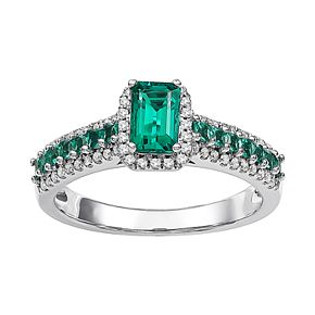 10k White Gold Lab-Created Emerald & Diamond Accent Ring