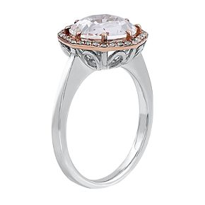 Two Tone Sterling Silver White Quartz & 1/8 Carat T.W. Diamond Ring