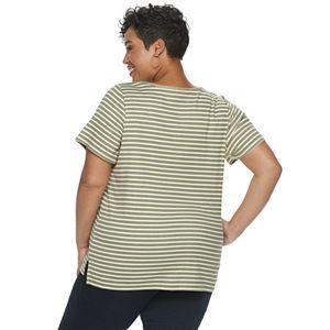 Plus Size Croft & Barrow® Print Embellished V-Neck Top