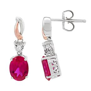 Two Tone Sterling Silver Lab-Created Ruby & Diamond Accent Oval Drop Earrings