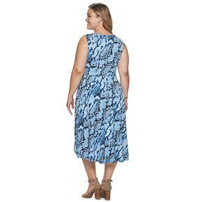 Plus Size Suite 7 Shirred Wrap Midi Dress