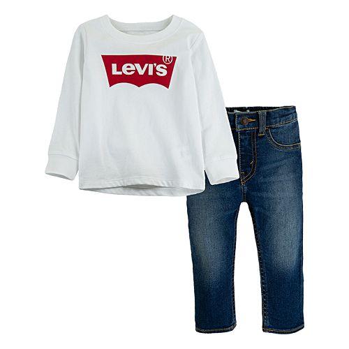 Toddler Boy Levi's® 2-Piece Batwing Long Sleeve T-Shirt and Stretch Denim Pants Set