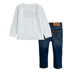 Toddler Boy Levi?s® 2-Piece Batwing Long Sleeve T-Shirt and Stretch Denim Pants Set