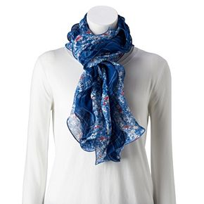 Women's Chaps Floral & Plaid Double-Ruffle Scarf