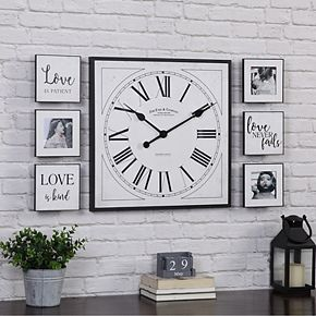 FirsTime & Co. Wall Clock & Love Frame 7-piece Set