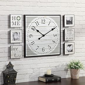 FirsTime & Co. Shiplap Wall Clock & Frame 7-piece Set