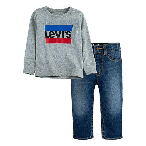 Toddler Boy Levi's® 2-Piece Sportswear Logo Long Sleeve T-Shirt and Stretch Denim Pants Set