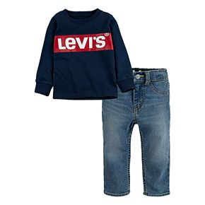 Toddler Boy Levi?s® 2-Piece Box Tab Logo Long Sleeve T-Shirt and Stretch Denim Pants Set