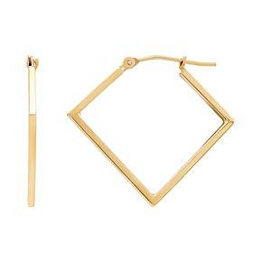14k Gold Square Tube Hoop Earrings