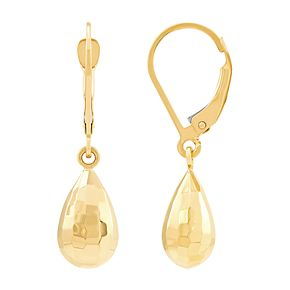 14k Gold Teardrop Disco Bead Earrings