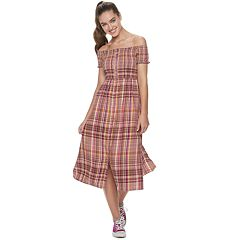 3125574a0a7 Juniors' SO® Off Shoulder Smocked Midi Dress. Laila Plaid Black Lana Plaid