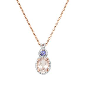 10k Rose Gold Morganite Tanzanite & Diamond Accent Pendant