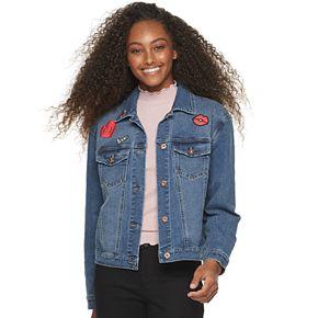 Juniors' Candie's® Denim Trucker Jacket With Patches