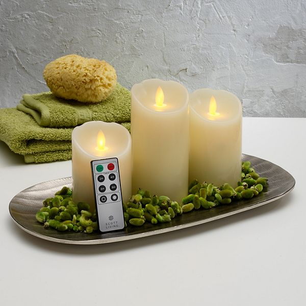 Scott Living Flameless LED Wax Pillar Candle Remote