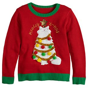 Girls 7-16 It's Our Time Long Sleeve Meowy Christmas Cat Sweater