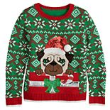 Girls 7-16 It's Our Time Santa Pug Christmas Present Sweater