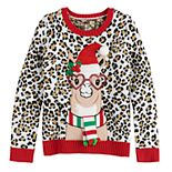 Girl's 7-16 It's Our Time Plus Size Leopard Print Christmas Llama Pullover