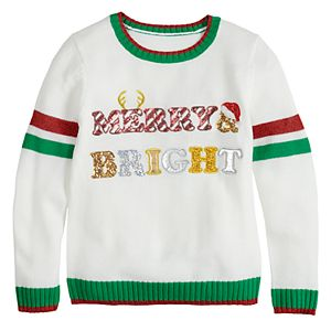 Girls' 7-16 It's Our Time Merry & Bright Christmas Pullover Sweater