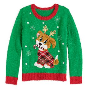 Girl's It's Our Time Plus Size Christmas Puppy With Antlers Pullover Sweater