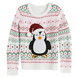 Girl's 7-16 It's Our Time Plus Size Santa Penguin Christmas Pullover Sweater