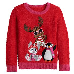Girls 7-16 It's Our Time Winter Friends Christmas Pullover