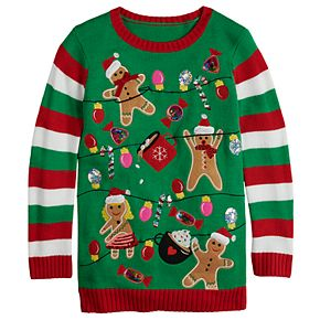 Girls 7-16 It's Our Time Crew Neck Gingerbread Party Christmas Tunic