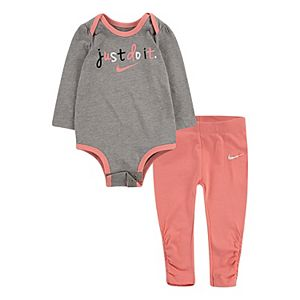 Baby Girls Nike 2 Piece Just Do It Bodysuit and Ruched Leggings Set