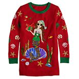 Girls 7-16 It's Our Time Crew Neck Christmas Glamour Mermaid Tunic