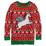 Girls 7-16 It's Our Time Crew Neck Unicorn Christmas Tunic