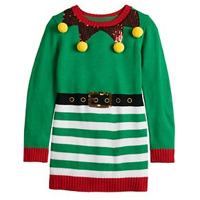 Girls 7-16 It's Our Time Crew Neck Christmas Elf Pullover Tunic
