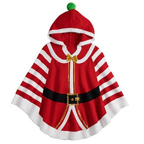 Girls 7-16 It's Our Time Striped Santa Hooded Christmas Poncho
