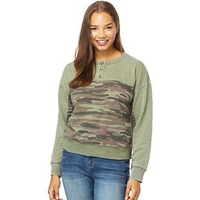 Juniors' WallFlower French Terry Henley Crewneck Pullover