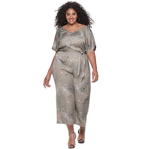 Plus Size Jennifer Lopez Kimono Sleeve Jumpsuit