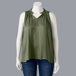 Plus Size Simply Vera Vera Wang Rouched Neck Tank