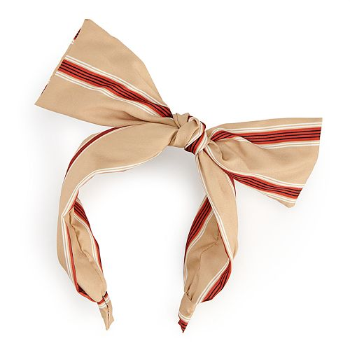 Red and Tan Statement Bow Stripe