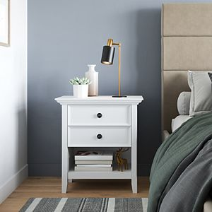 Simpli Home Amherst Solid Wood Transitional Bedside Nightstand Table