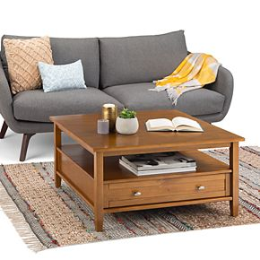 Simpli Home Warm Shaker Solid Wood Square Rustic Coffee Table